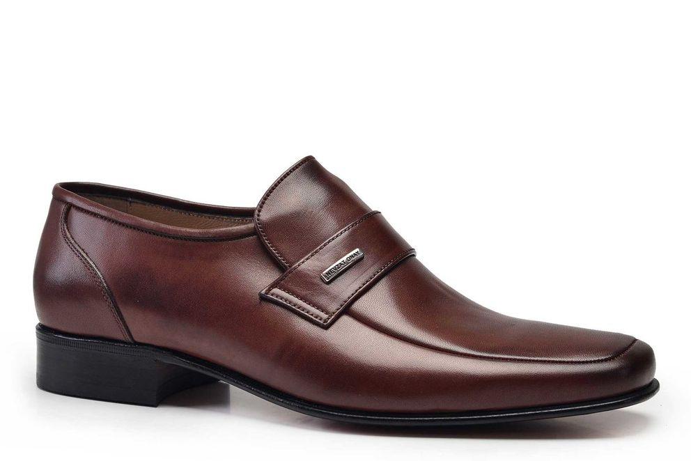 Hakiki Deri Kahverengi Klasik Loafer Kösele Erkek Ayakkabı -10954-