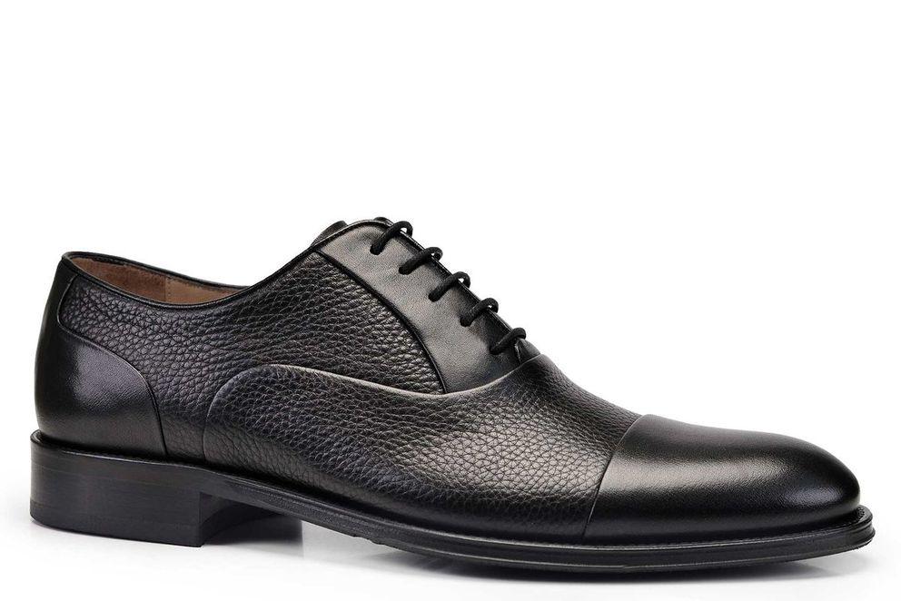 Hakiki Deri Siyah Günlük Bağcıklı Neolit Erkek Ayakkabı -11190-