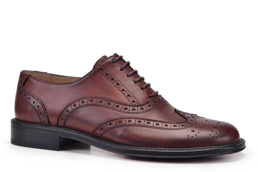 Hakiki Deri Kahverengi Klasik Bağcıklı Kösele Erkek Ayakkabı -11257-