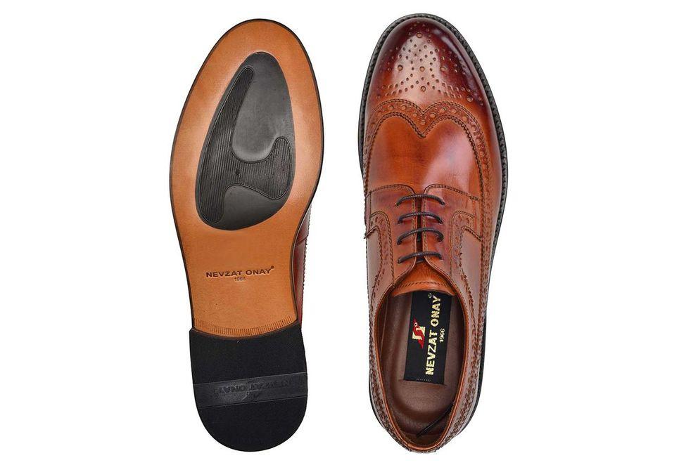 Hakiki Deri Taba Klasik Bağcıklı Kösele Erkek Ayakkabı -11352-