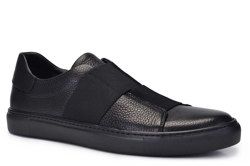 Hakiki Deri Siyah Sneaker Erkek Ayakkabı -11384-