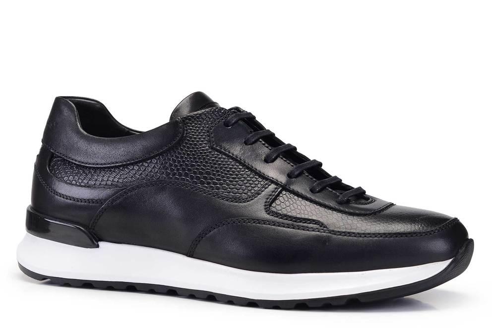 Hakiki Deri Siyah Sneaker Erkek Ayakkabı -11488-