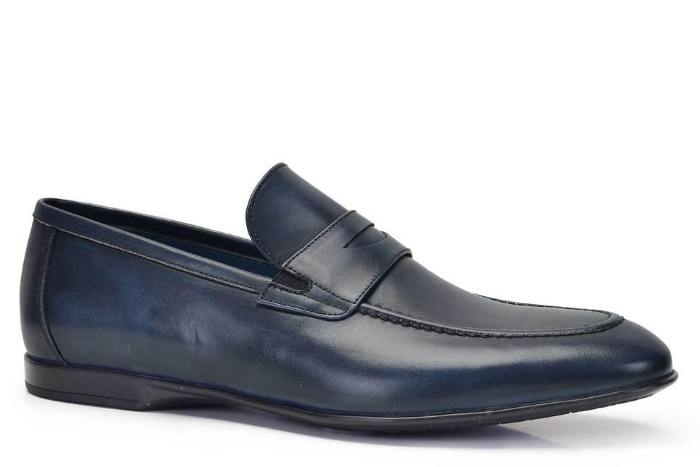 Hakiki Deri Lacivert Günlük Loafer Erkek Ayakkabı -11565-