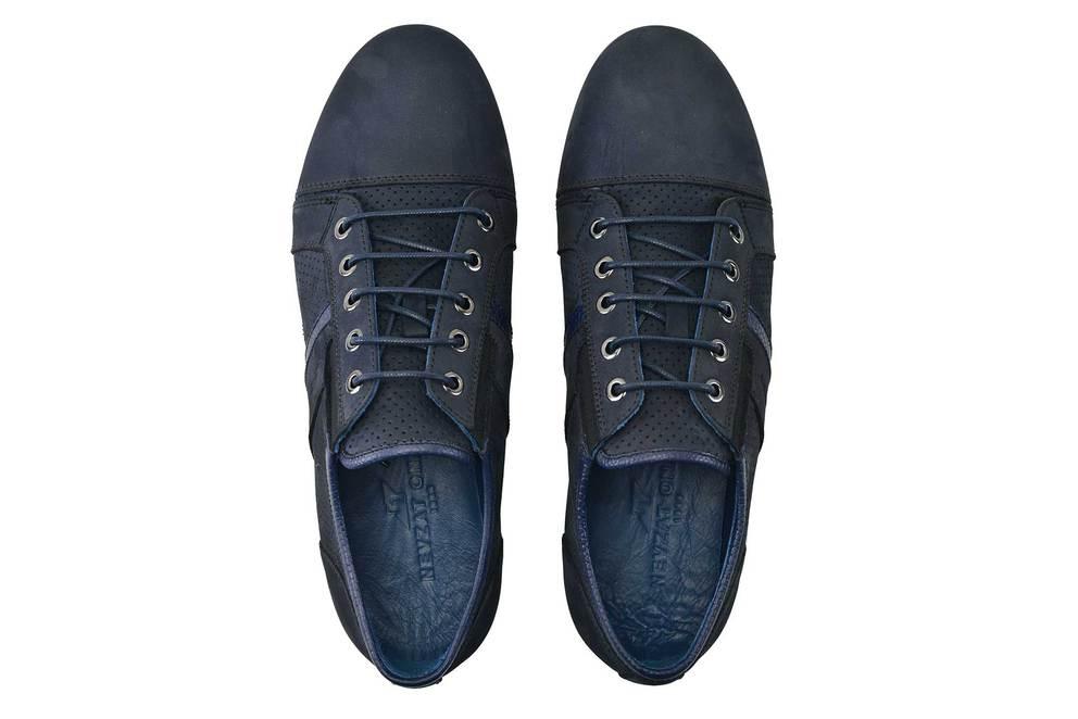 Hakiki Deri Lacivert Sneaker Erkek Ayakkabı -11551-
