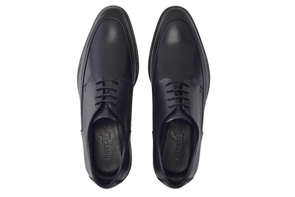 Hakiki Deri Siyah Klasik Bağcıklı Kösele Erkek Ayakkabı -11585-