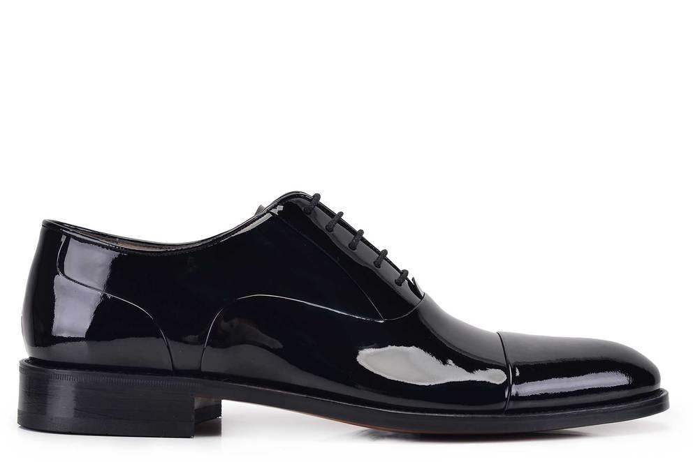 Hakiki Deri Siyah Klasik Bağcıklı Kösele Erkek Ayakkabı -11534-