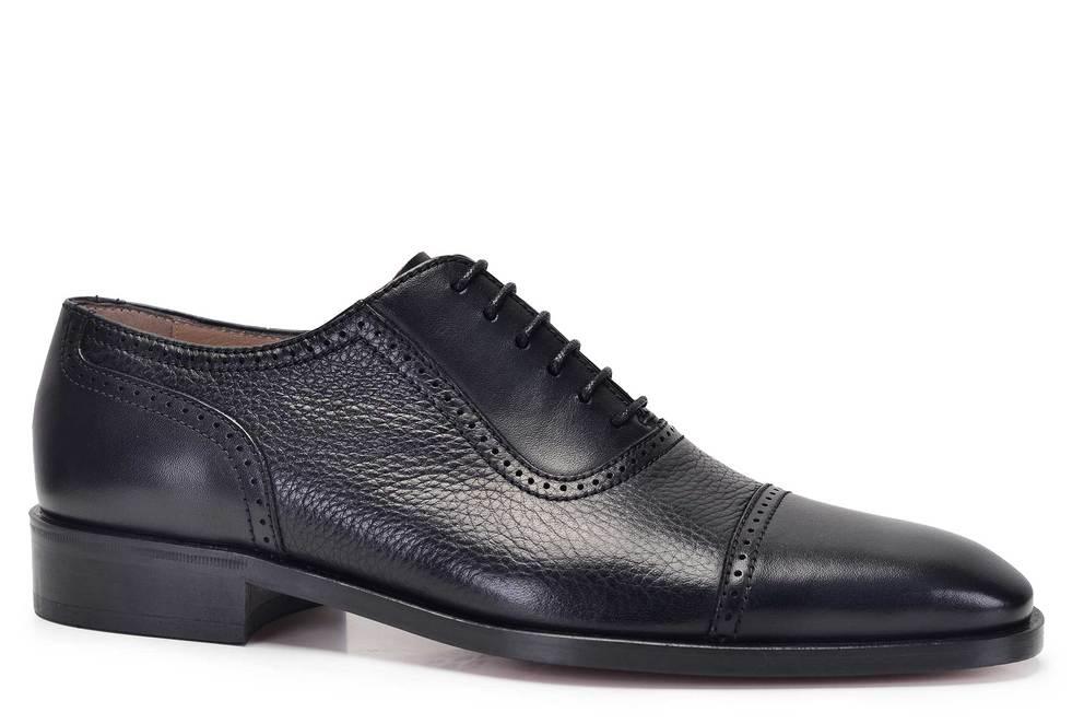 Hakiki Deri Siyah Klasik Bağcıklı Kösele Erkek Ayakkabı -11556-