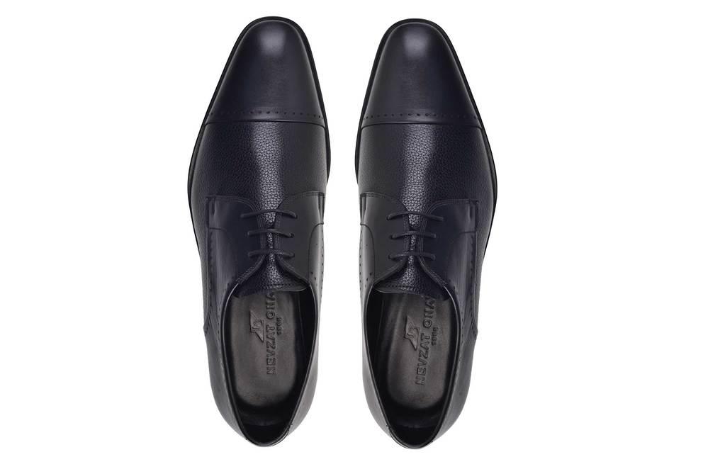 Hakiki Deri Siyah Klasik Bağcıklı Kösele Erkek Ayakkabı -11586-