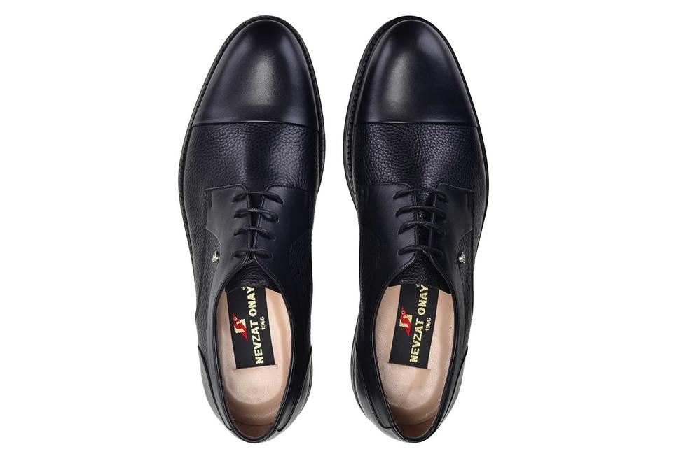 Hakiki Deri Siyah Günlük Bağcıklı Erkek Ayakkabı -11683-