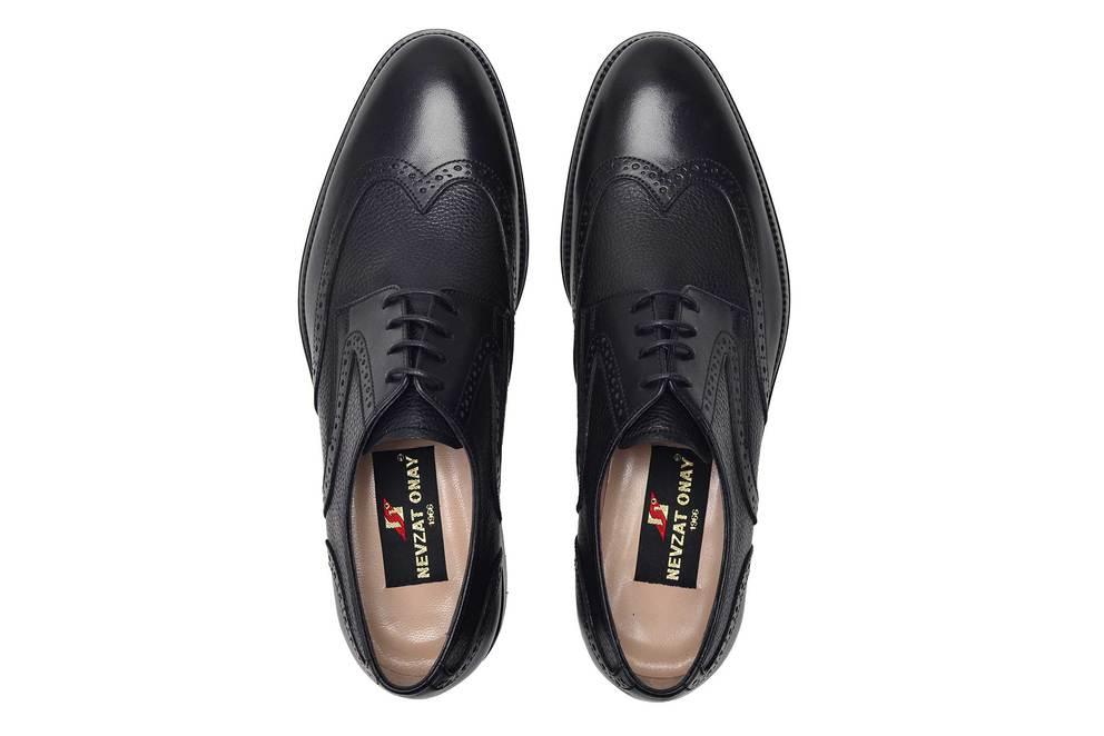 Hakiki Deri Siyah Klasik Bağcıklı Kösele Erkek Ayakkabı -11708-