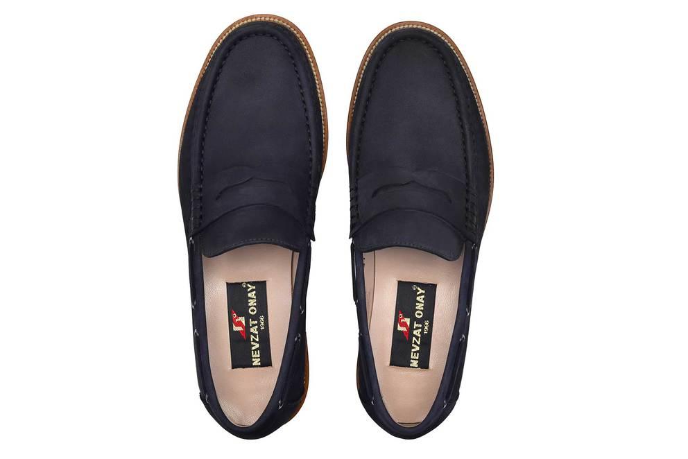 Hakiki Deri Lacivert Günlük Loafer Erkek Ayakkabı -11717-