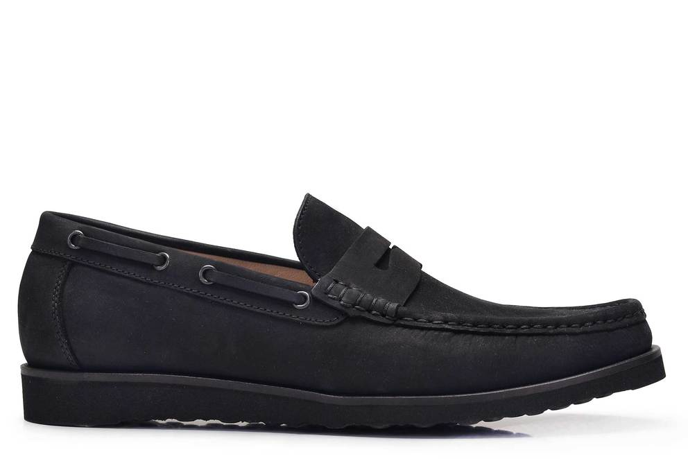 Hakiki Deri Siyah Yazlık Loafer Erkek Ayakkabı -11716-