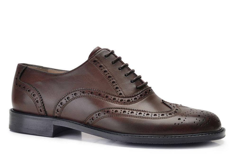 Hakiki Deri Kahverengi Klasik Bağcıklı Kösele Erkek Ayakkabı -11929-