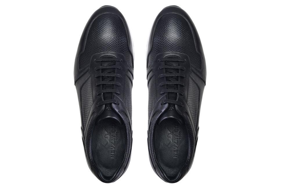 Hakiki Deri Siyah Sneaker Erkek Ayakkabı -10437-