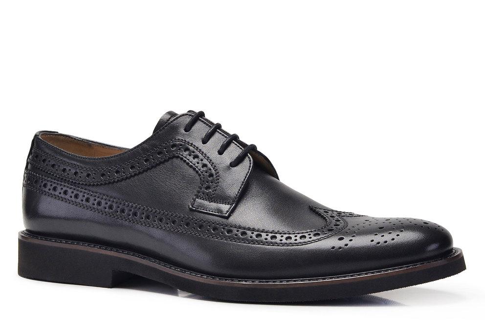 Hakiki Deri Siyah Günlük Bağcıklı Erkek Ayakkabı -8458-