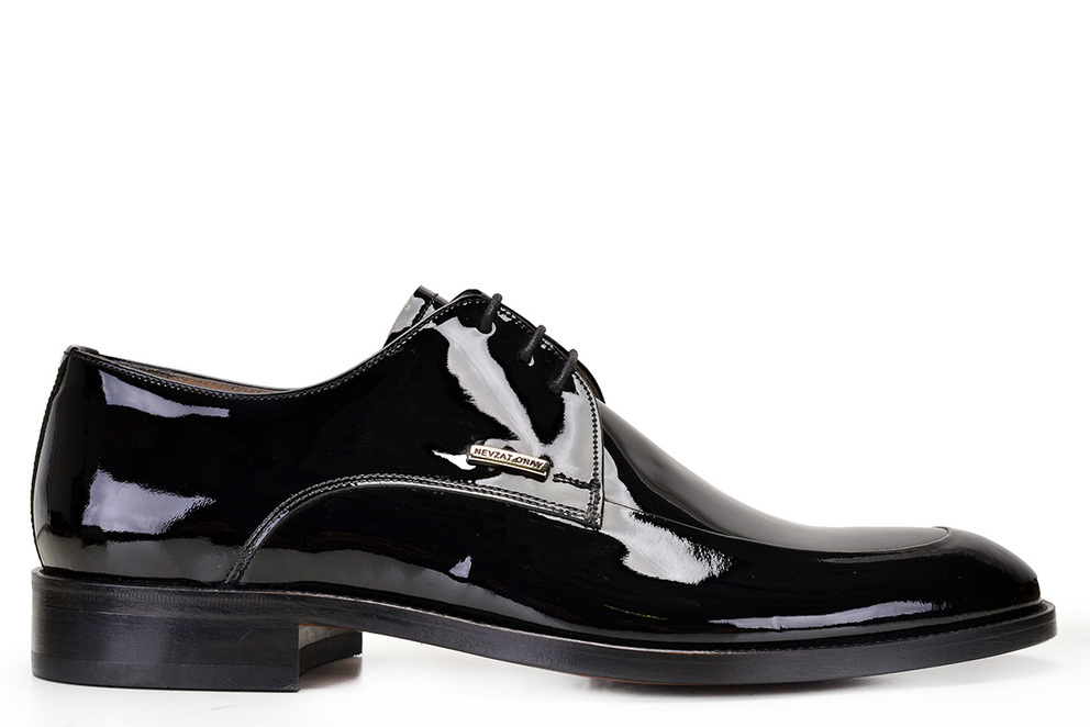Hakiki Deri Siyah Klasik Bağcıklı Kösele Erkek Ayakkabı -10018-