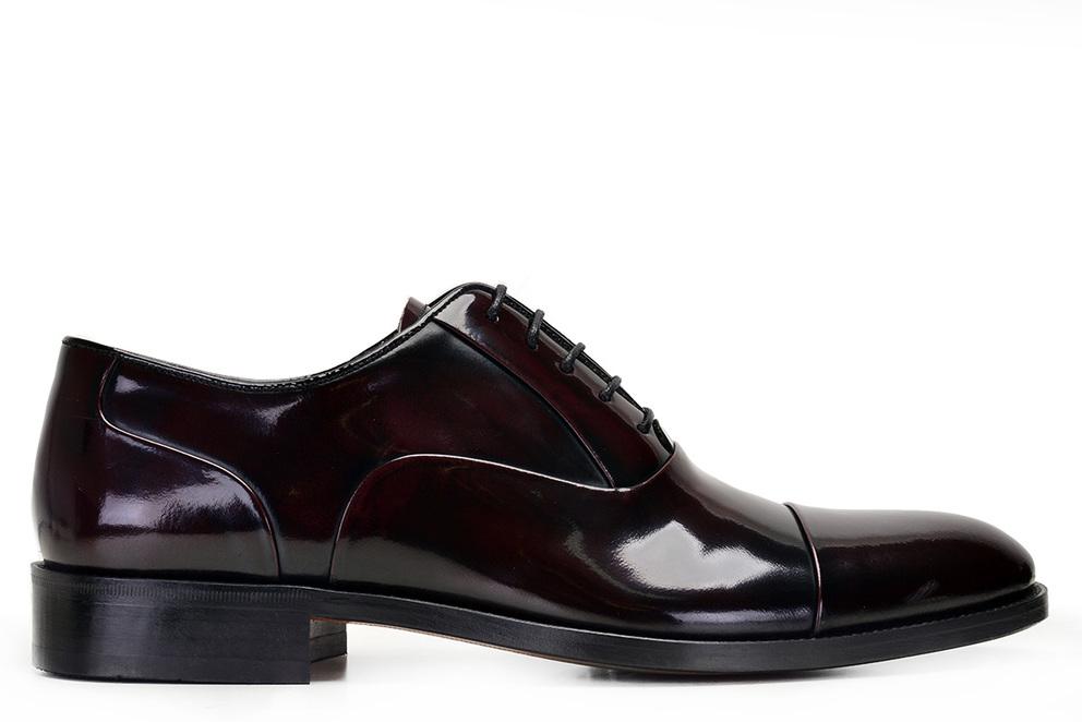 Hakiki Deri Bordo Rugan Bağcıklı Kösele Erkek Ayakkabı -9121-