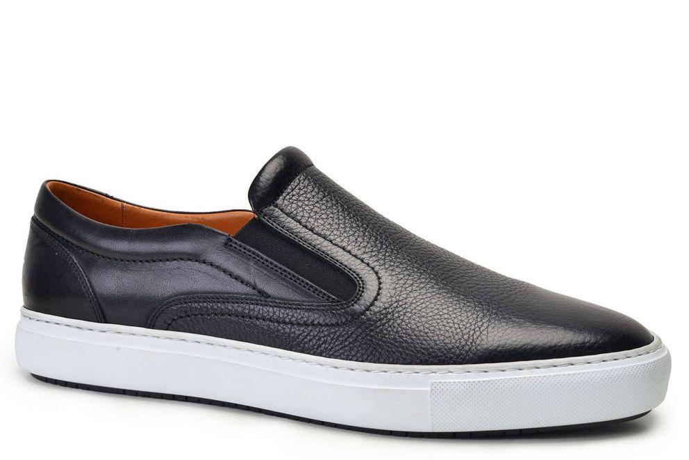 Hakiki Deri Siyah Sneaker Erkek Ayakkabı -8366-