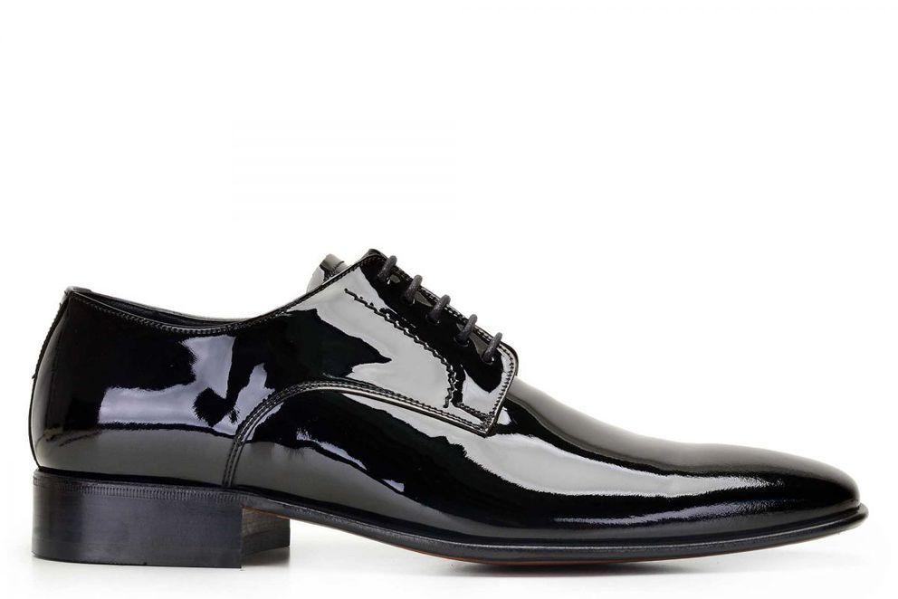 Hakiki Deri Siyah Klasik Bağcıklı Kösele Erkek Ayakkabı -10548-