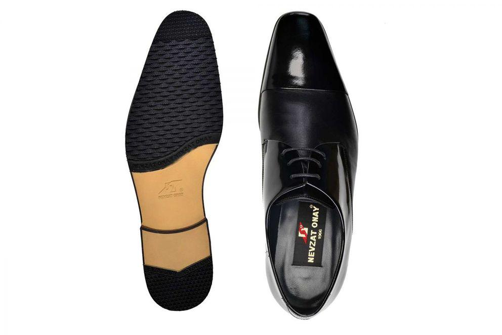 Hakiki Deri Siyah Klasik Bağcıklı Erkek Ayakkabı -7683-